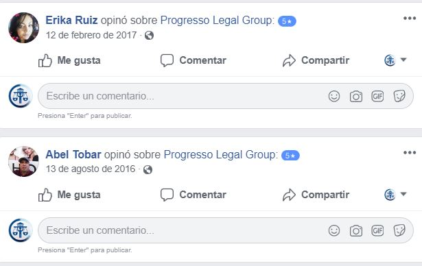 testimonios clientes satisfechos de progresso legal group en facebook